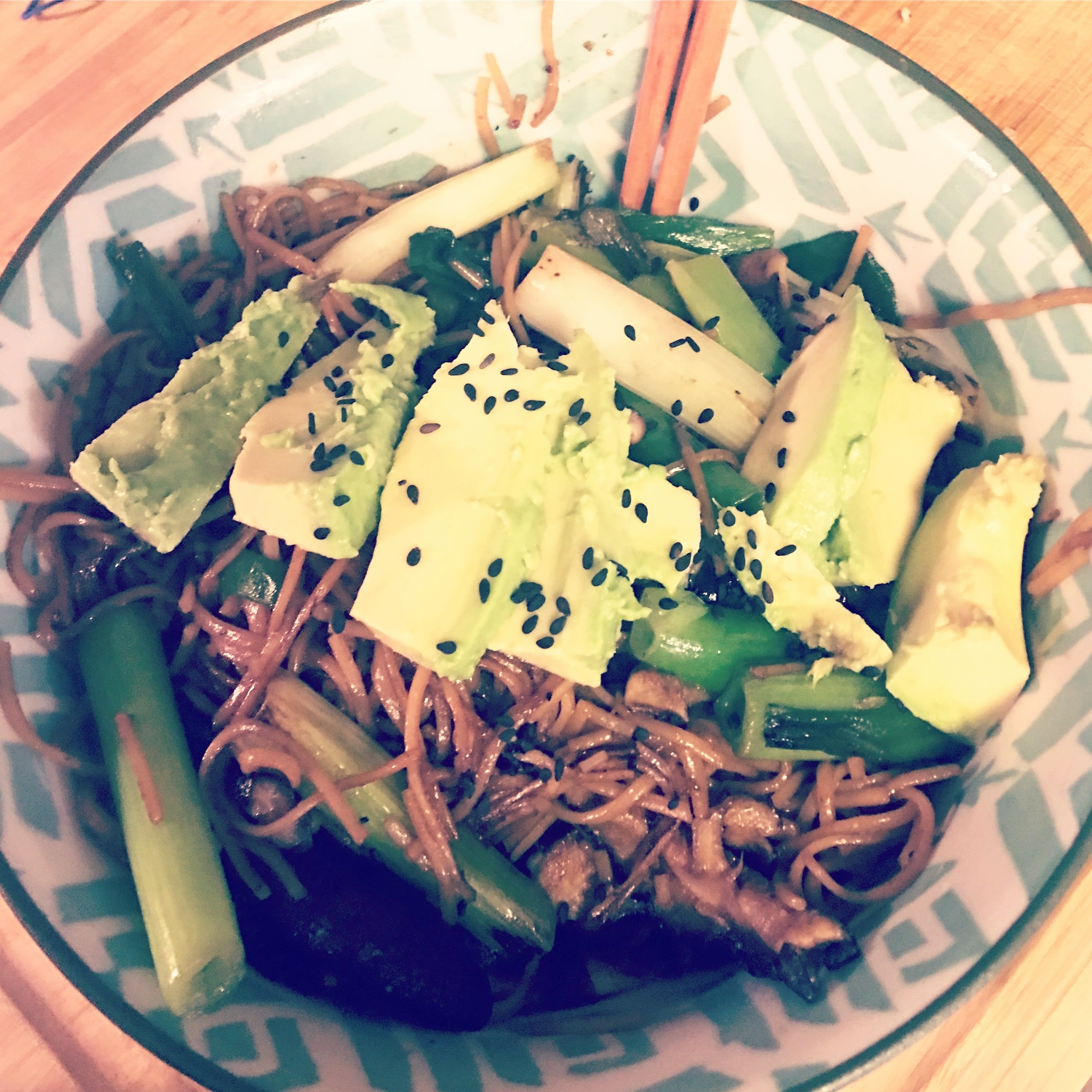 Soba with Shiitakes and Scallions   A quick-and-easy weeknight noodle dish: buckwheat soba tossed and stir-fried shiitake mushrooms and scallions, tossed with soy sauce, rice vinegar and sesame oil and topped with sliced avocado and black sesame seeds.