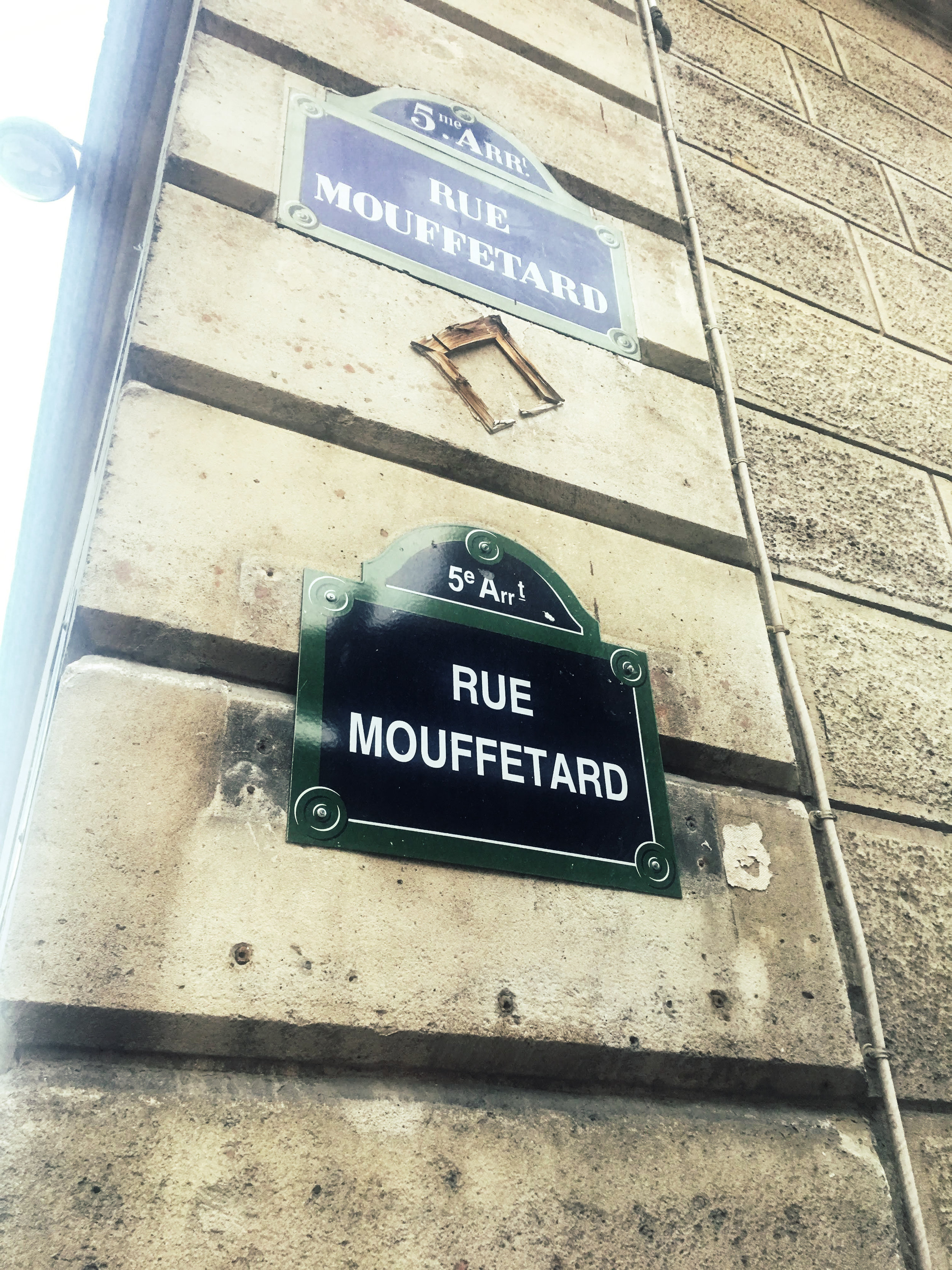One of our primary local arterials, Rue Mouffetard: a name which becomes exponentially funnier the more wine you've had.