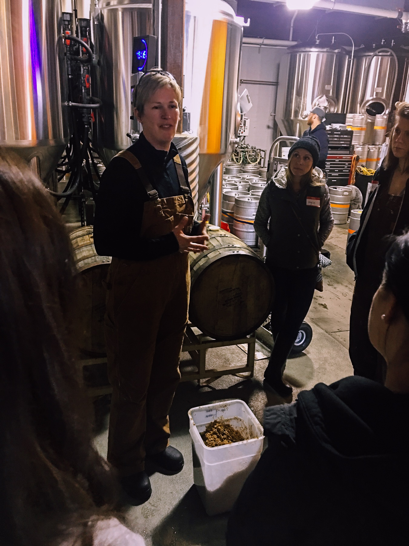 Robyn Schumacher, brewer at Stoup, explaining the brewing process
