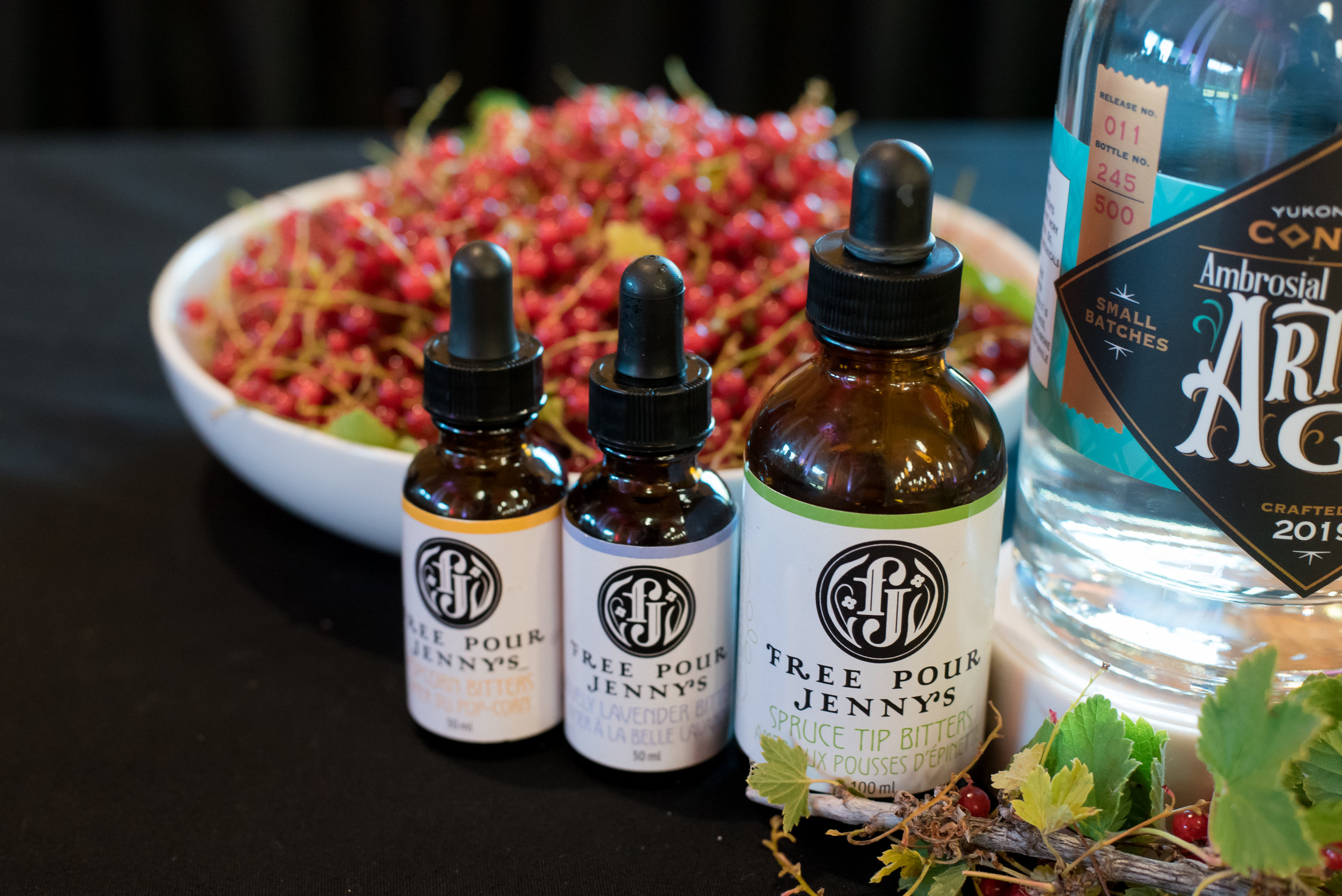 Free Pour Jenny's bitters on display at the Yukon Culinary Festival's Feast & Forage event, August 2019
