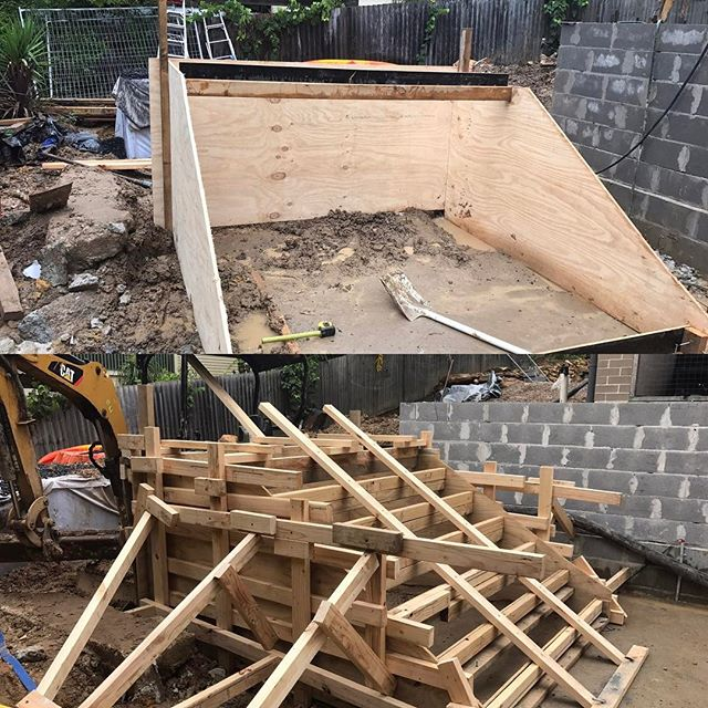 #stonecraftgardens #sydneylandscaper #concreteformwork Concrete stairs formed up and ready for pour. We'll be capping them with sawn sandstone later. Hope the Aggi driver doesn't wet the mix up too much!