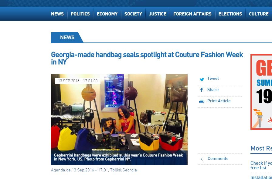 A Georgian fashion brand selling luxury handbags and accessories is making a mark at a top fashion event in New York, United States (US).