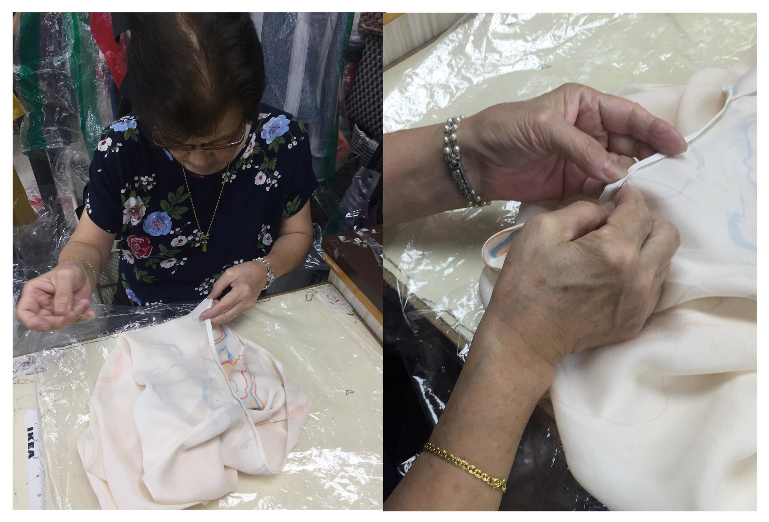 Madam Lan who has almost 70 years of sewing experience hemming the neckline binding of INMA top by hand.