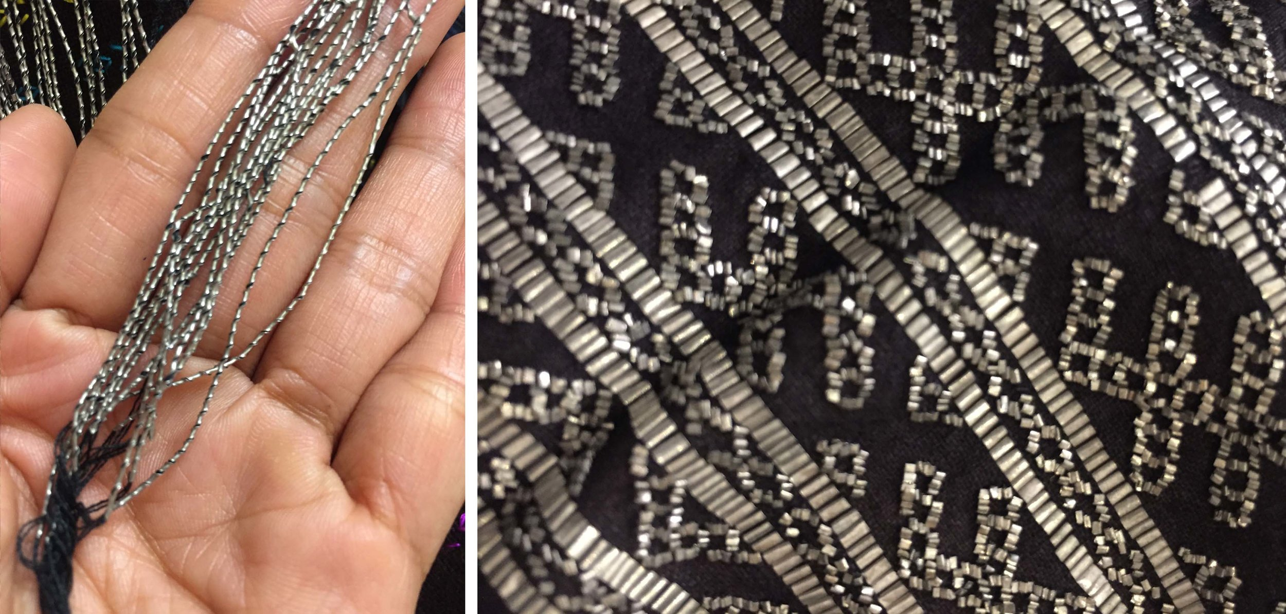 LEFT: Hand-coiled tassels  RIGHT: Miao tin embroidery