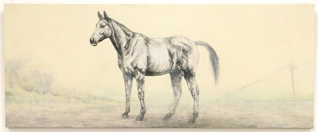 A Warless Horse.  2016. Oil and Graphite on board. 204 x 82 CM. AVAILABLE.