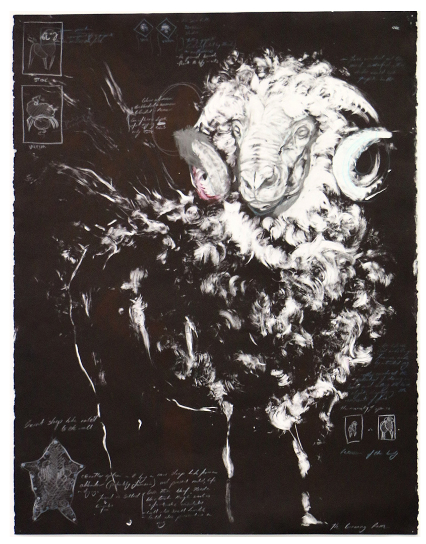 Study of a Burning Ram . 2016. Monotype and conte on Canson paper. 60 x 84 CM. SOLD: Perth, Australia