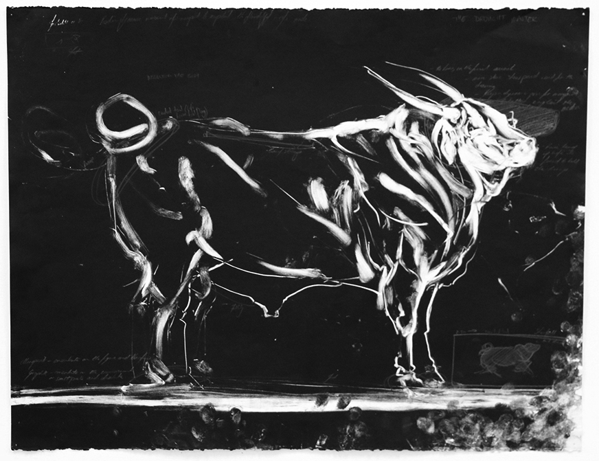 Bull Sketch.  2016. Monotype and crayon on Canson paper. 60 x 84 CM. AVAILABLE.