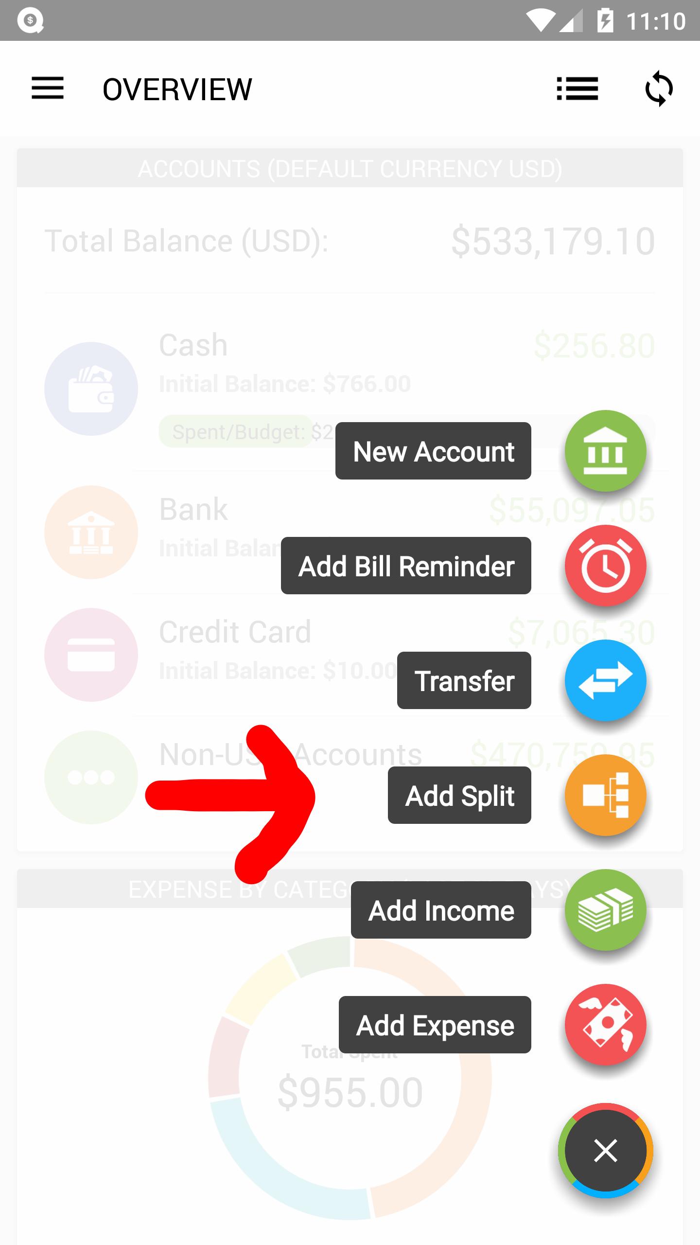 Add a Split Transaction