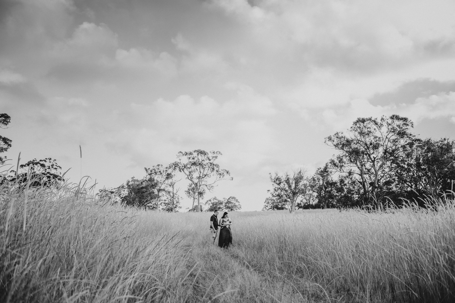 Beautiful black and white family portrait in a field | Sirromet Winery | Lightsmith Images