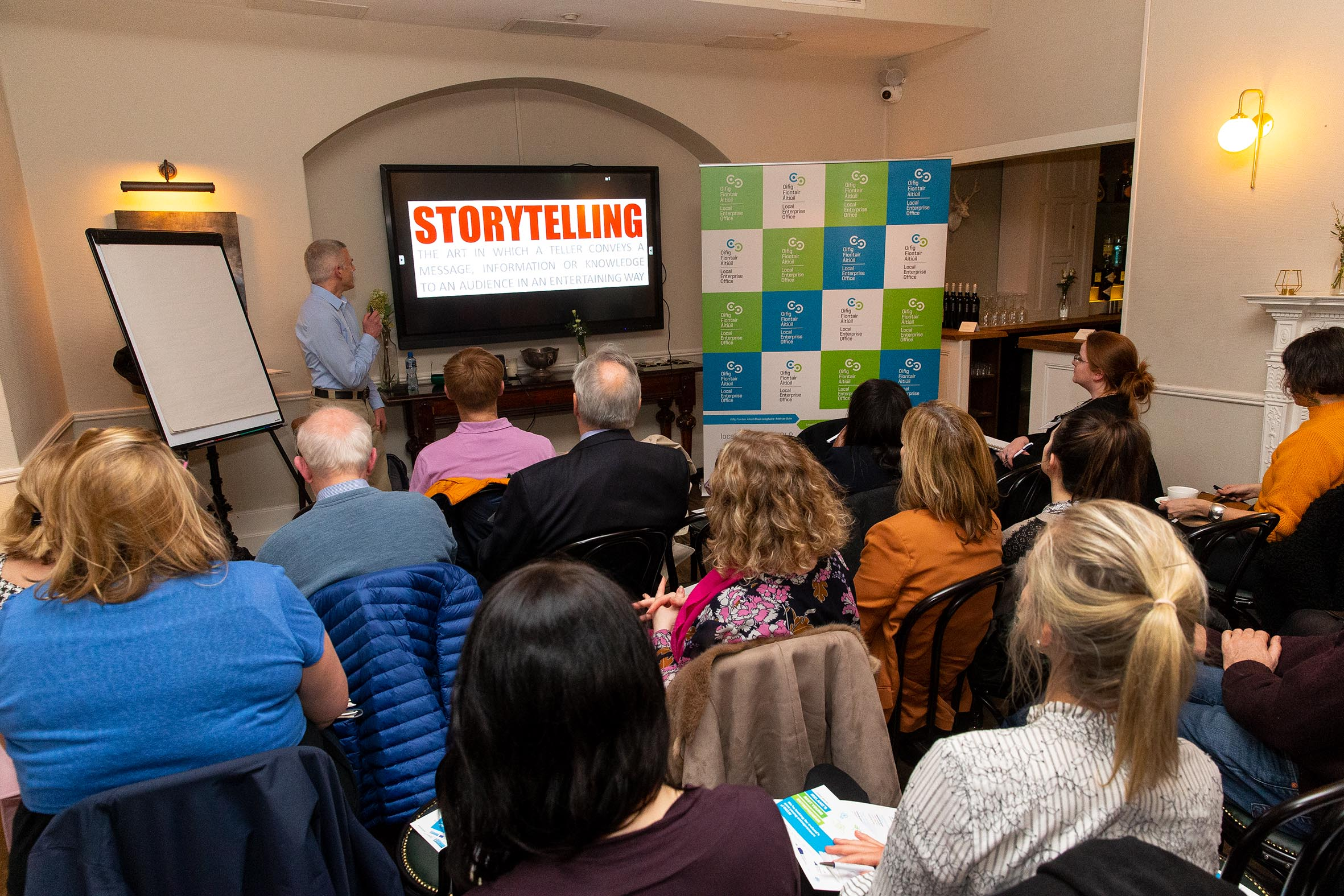 Brian giving the How Stories Can Boost Your Bottom Line workshop during Dun Laoghaire-Rathdown's Enterprise Week 2019 in March