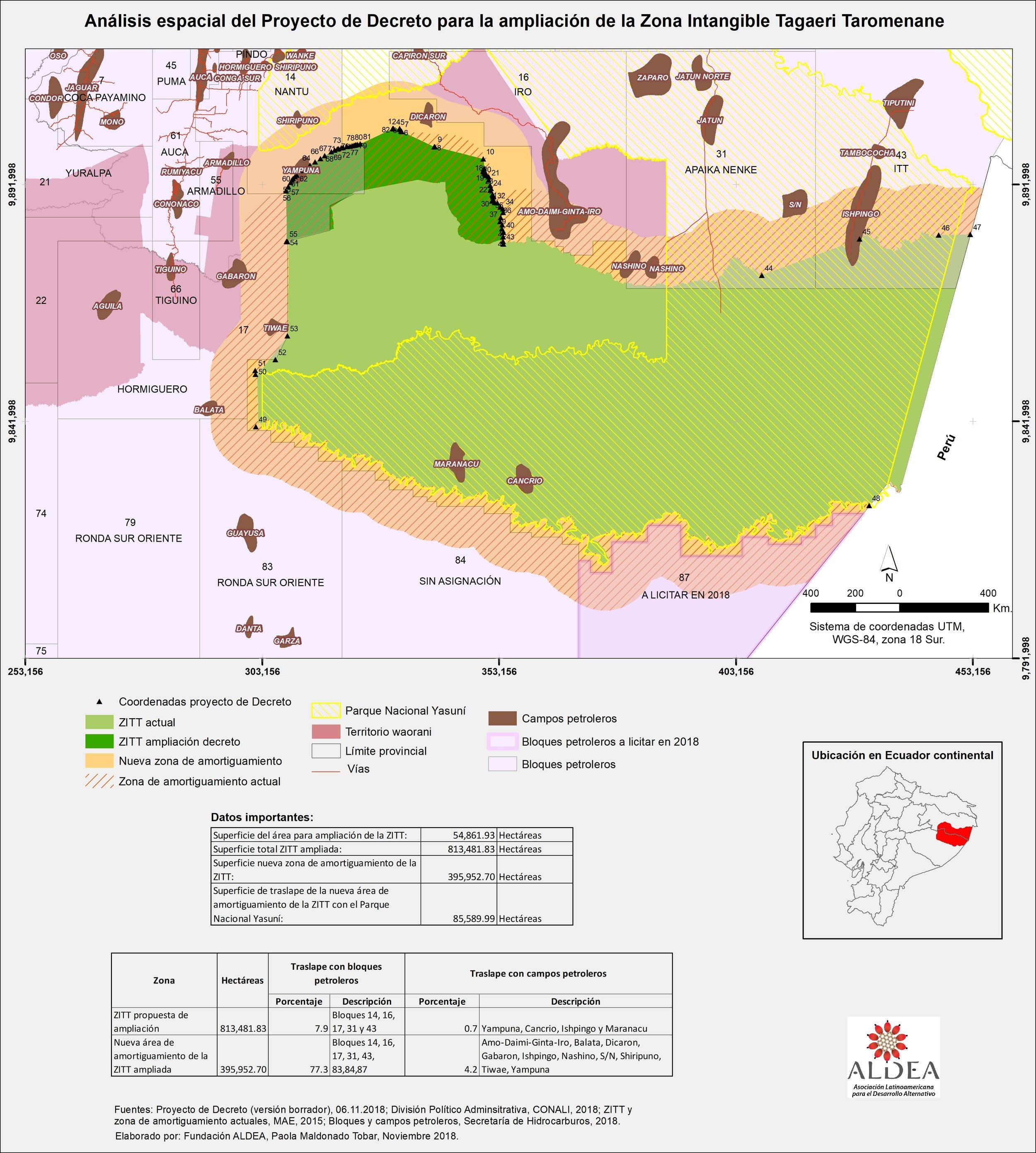 Mapa del proyecto de Decreto: área de ampliación, la zona de amortiguamiento, zona de traslape con el Parque Nacional Yasuní. Elaboración: Fundación ALDEA.