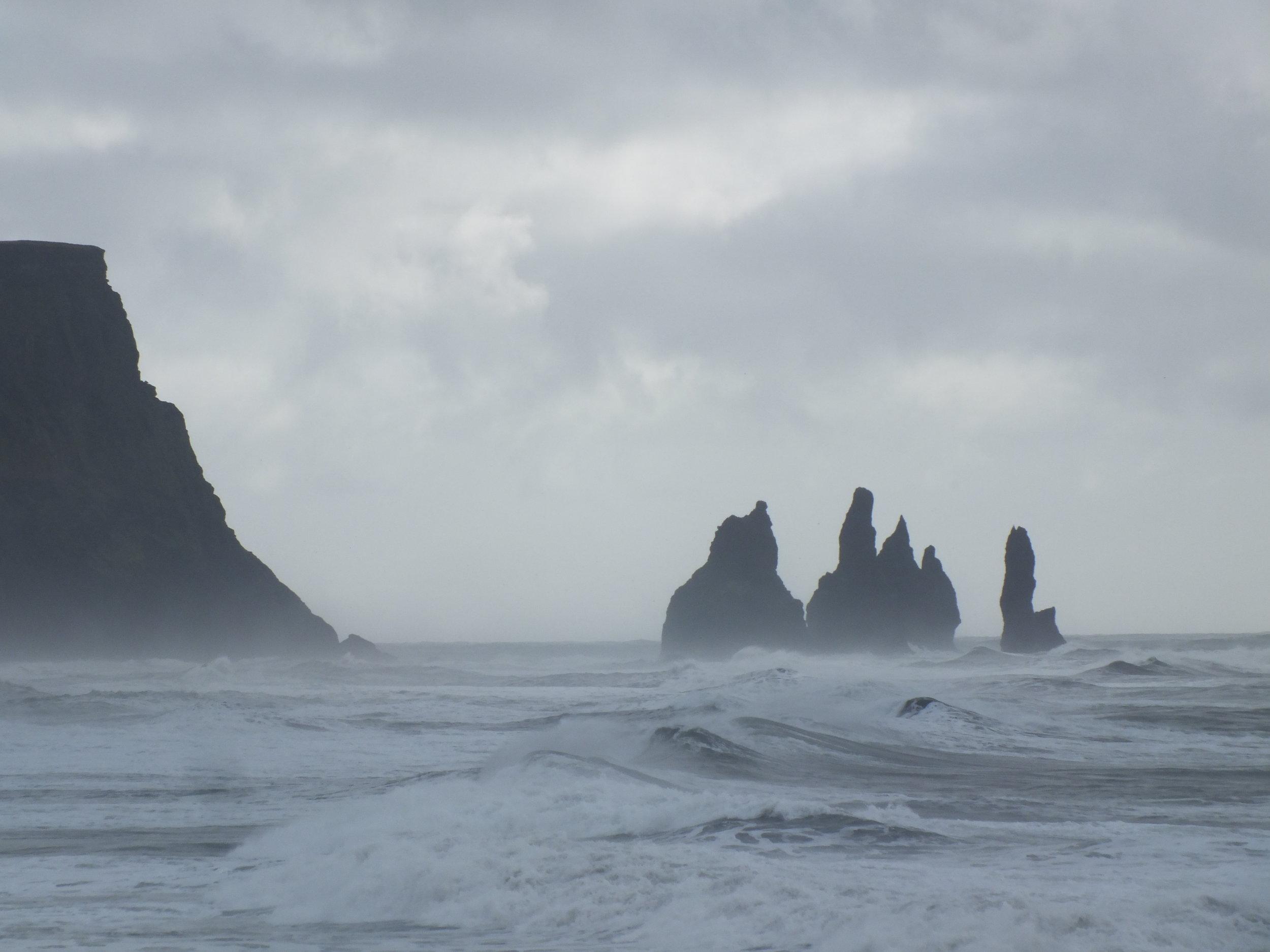Reynisdrangur basalt sea stacks
