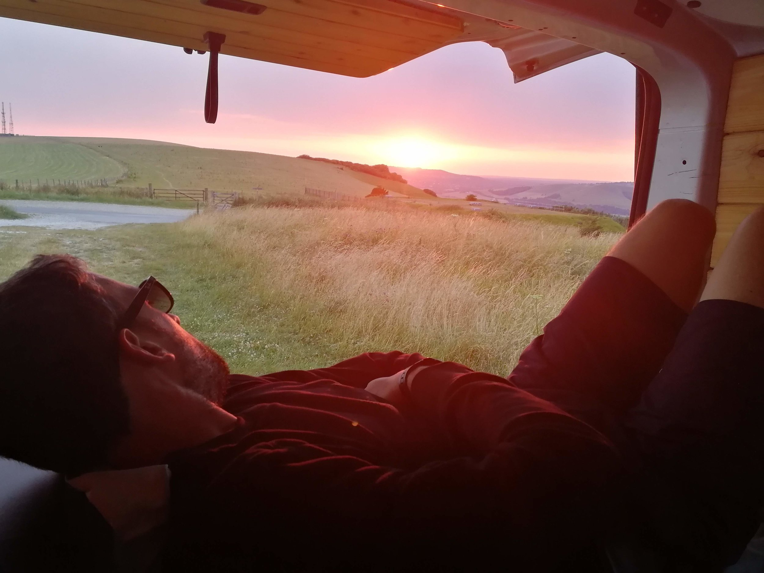Sunset from van, parked up the Beacon