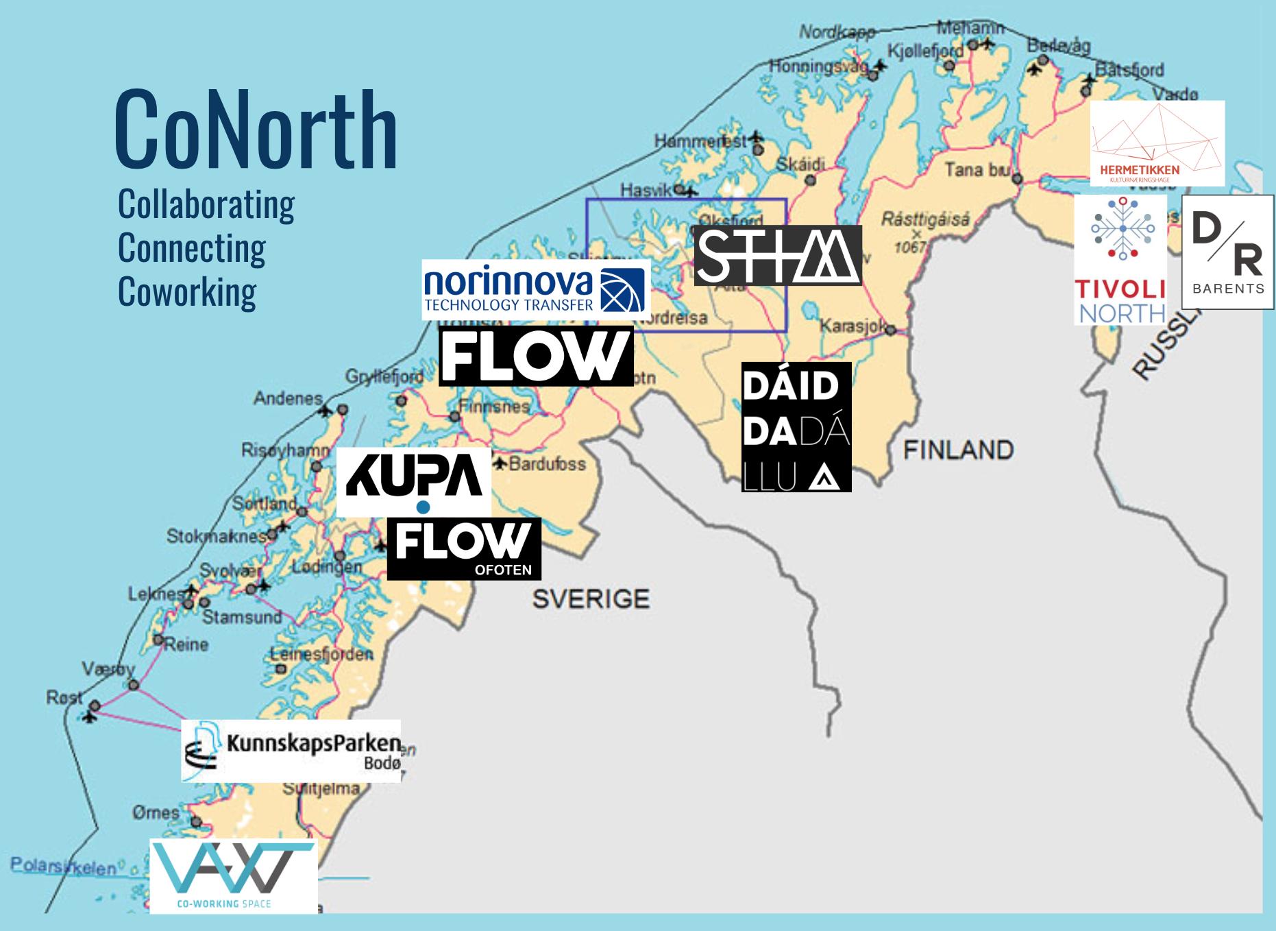 """Her ser du det foreløpige """"kartet"""" over CoNorth og de som er med."""