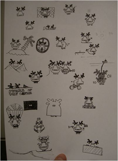Moose on the Loose slik de ble tegnet i franskboken 2001.