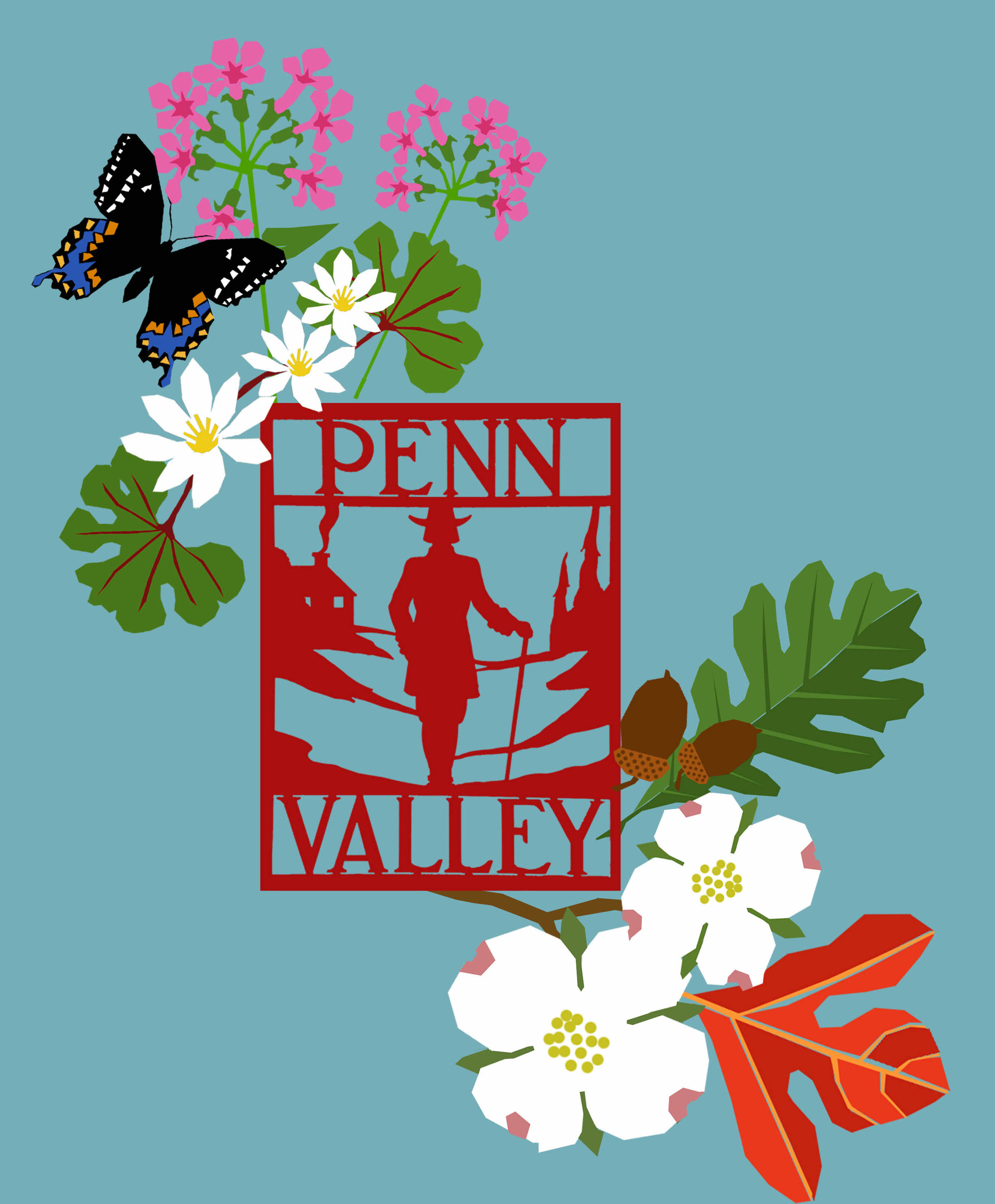 Mini-graphic designed by local mural artist, Eurhi Jones. This appeared on specially designed t-shirts for purchase to help support the mural project. In addition to our historic neighborhood sign, a spicebush swallowtail butterfly accompanies locally native plants and trees including, phlox, blood root, oak, dogwood and sassafras.