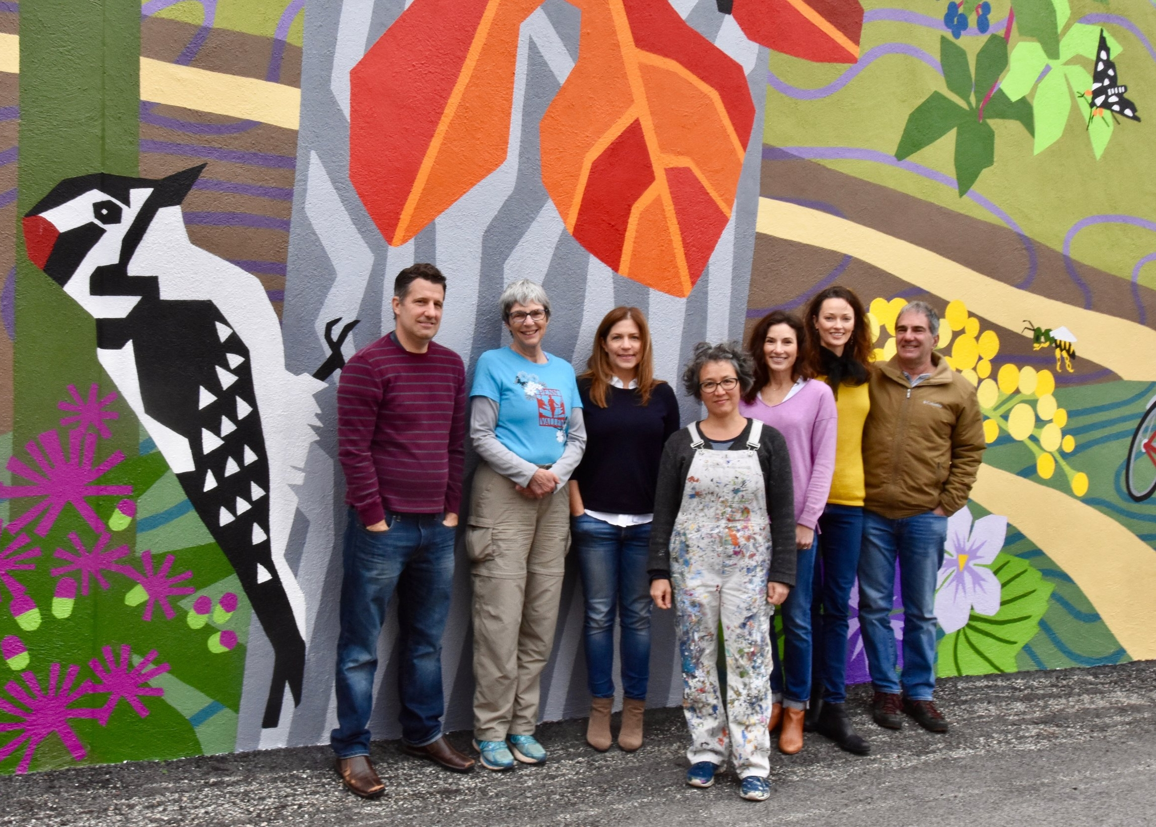 Thanks  to this great team who helped make the mural project a huge success! From left to right, Steve Filippone (Vice President, Penn Valley Civic Association), Kitty Rapalyea (President of The Friends of the Cynwyd Heritage Trail), Jen Kelly (Treasurer, Penn Valley Civic Association), Eurhi Jones (Mural artist), Maria Wodraska (Mural painting assistant), Michelle Detwiler (President, Penn Valley Civic Association) and Dan Goldberg (owner of the Main Line Cycles building)