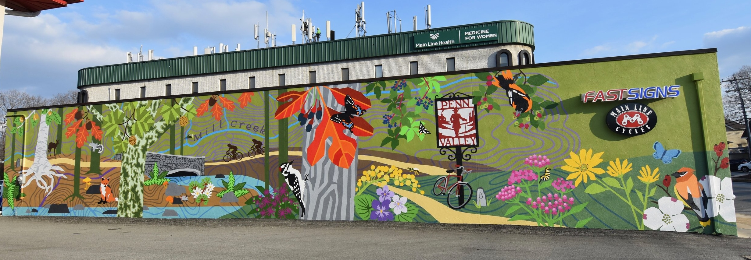 The Penn Valley Community Mural titled  Hometown Ecology  by local artist, Eurhi Jones in December 2018. Can you name the trees, plants, birds and butterflies?