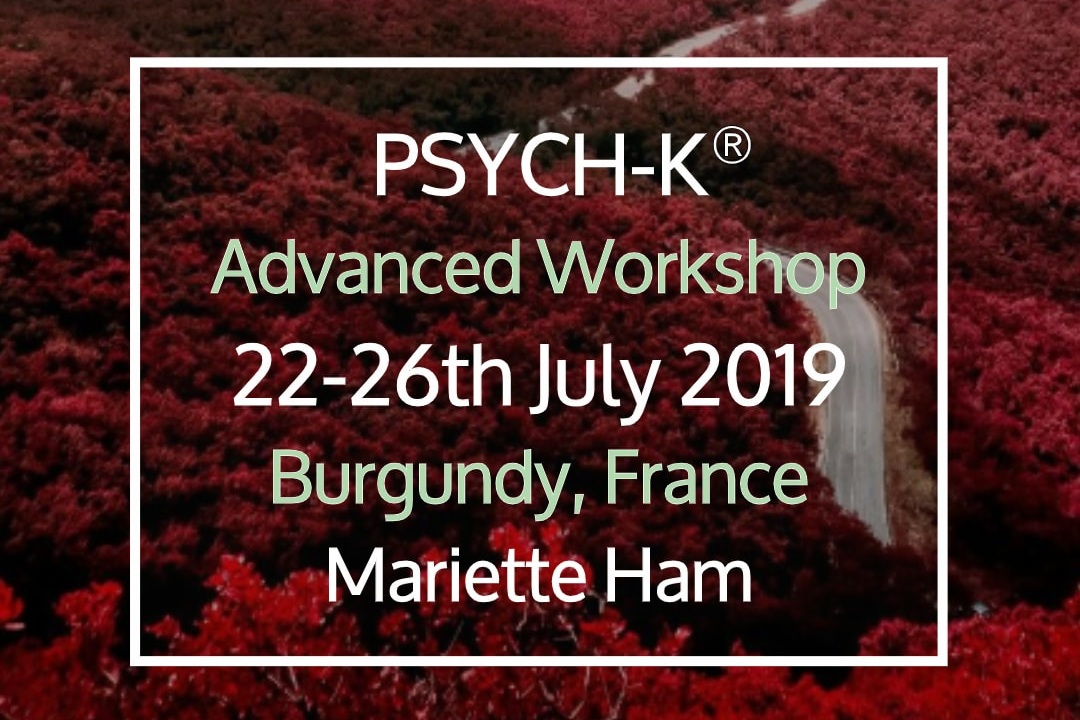 PSYCH-K® Advanced Workshop - 22 Jul, 2019 17:30 - 26 Jul, 2019 17:30Learn new PSYCH-K tools; Transform complex life issues into new foundations for an optimal life.Strengthen the mind-body-connection using the power of breath, energy healing and new whole-brain-movements. Accelerate the transformation process.Location: Chateau de LaSalle (map)