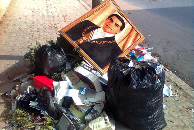 Image of the dethroned president Zine EL Abidine Ben Ali amongst the rubbish during the garbage crisis. Courtesy of Nawaat.org