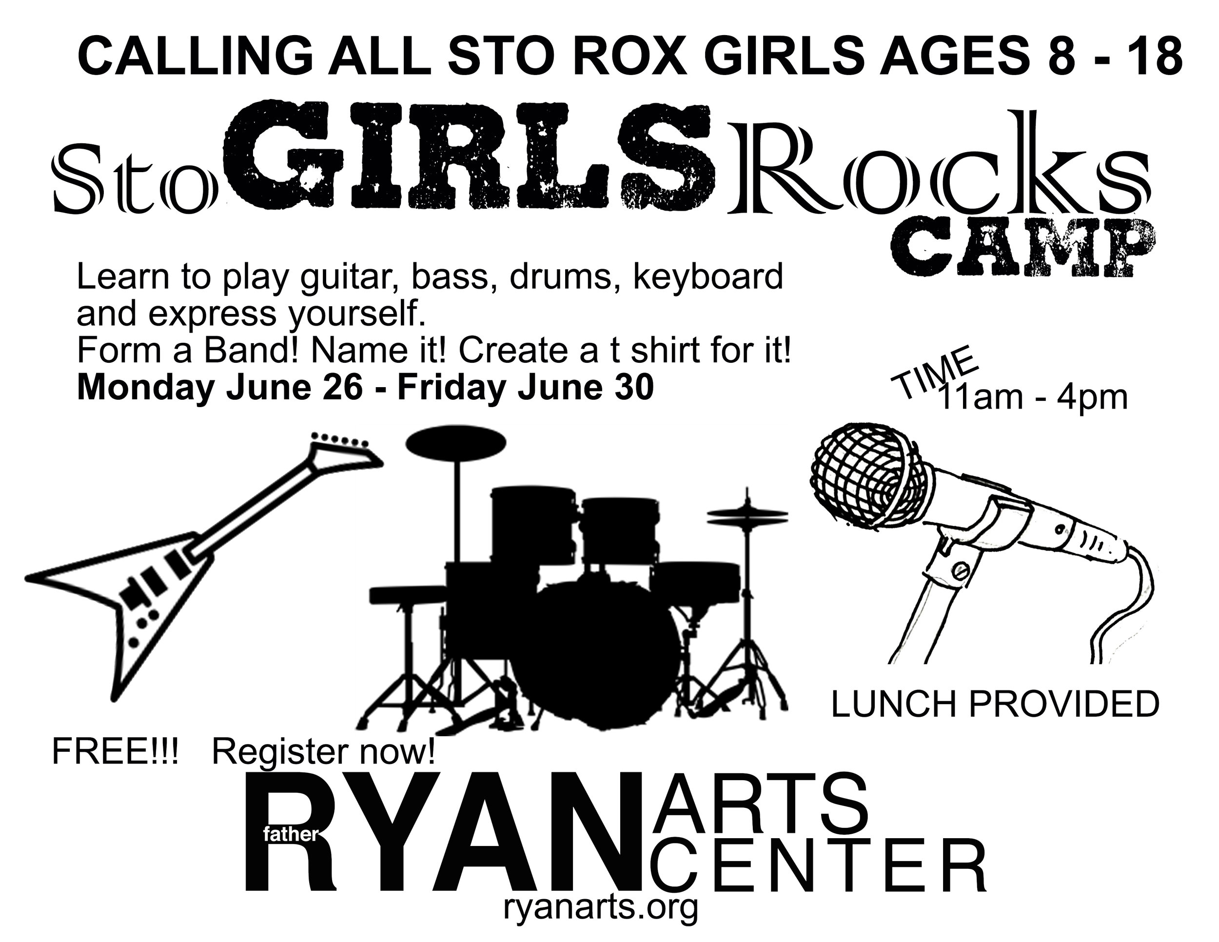 """StoGIRLSRocks is a FREE SUMMER MUSIC CAMP for GIRLS (ages 8-18) at the Ryan Arts Center.     DATES: June 26-June 30th  TIMES: 11am-4pm    SHOWCASE on June 30 at 6pm    StoGIRLSRocks is an empowerment program for female youths of all definitions, abilities, & backgrounds. Our program utilizes the process of making music to instill tools for the amplification of self-confidence, creative expression, independent thinking, mutual respect, & cooperation while cultivating a supportive & inclusive community of peers and mentors.    Girls can join to learn the basics in Guitar, Beatmaking, Drums, Keyboards, and Singing. Students will be paired with teaching artists and get to learn hands on the basics of music making, forming a band, creating a band, and more.    CAPACITY OF 30 students    register at RyanArts.org   REGISTER HERE            96              Normal   0           false   false   false     EN-US   X-NONE   X-NONE                                                                                                                                                                                                                                                                                                                                                                           /* Style Definitions */ table.MsoNormalTable {mso-style-name:""""Table Normal""""; mso-tstyle-rowband-size:0; mso-tstyle-colband-size:0; mso-style-noshow:yes; mso-style-priority:99; mso-style-parent:""""""""; mso-padding-alt:0in 5.4pt 0in 5.4pt; mso-para-margin:0in; mso-para-margin-bottom:.0001pt; mso-pagination:widow-orphan; font-size:12.0pt; font-family:Calibri; mso-ascii-font-family:Calibri; mso-ascii-theme-font:minor-latin; mso-hansi-font-family:Calibri; mso-hansi-theme-font:minor-latin;}          INSTRUCTOR INFO    Danielle Maggio (camp director):   Danielle is a vocalist, teacher, researcher and activist who specializes in American popular music culture. She is currently a PhD student in the Music depar"""