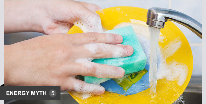 Hand washing dishes is cheaper than using a dishwasher.   It's widely believed that dishwashers are convenient, but use more water and energy than hand washing. In fact, washing a typical load of dishes in a dishwasher uses 37 percent less water. Also, using a dishwasher, rather than hand washing, can cut your annual energy costs by more than $40, according to ENERGY STAR.