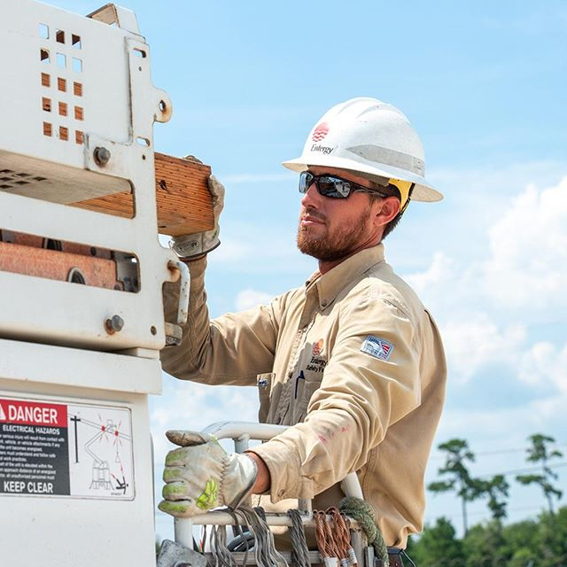 "This #WorkerWednesday we're saying ""THANK YOU"" to all the lineworkers and crews who are helping restore power after #HurricaneBarry.  #linemen #lineworkers"