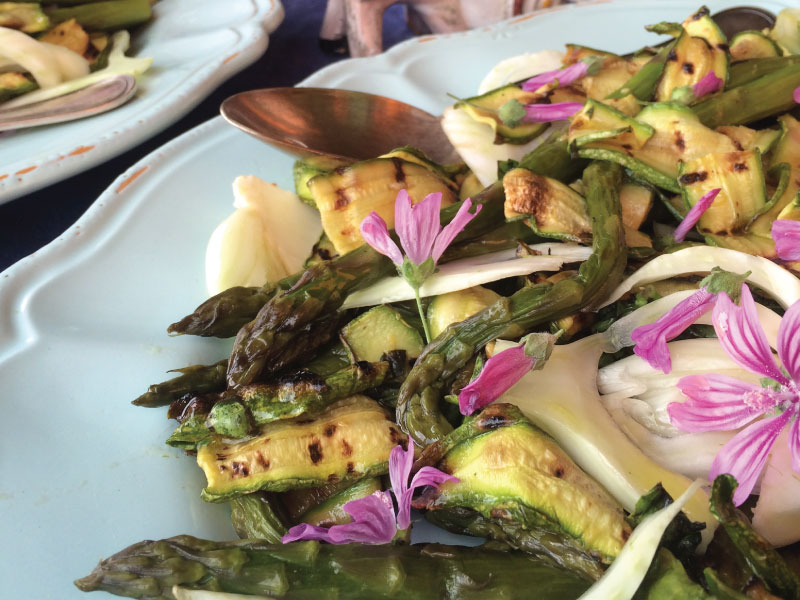 Another example: I had this grilled asparagus and zucchini dish at my friend Chicca's Tuscan farmhouse where she teaches folks from all over the world how to cook Italian food.