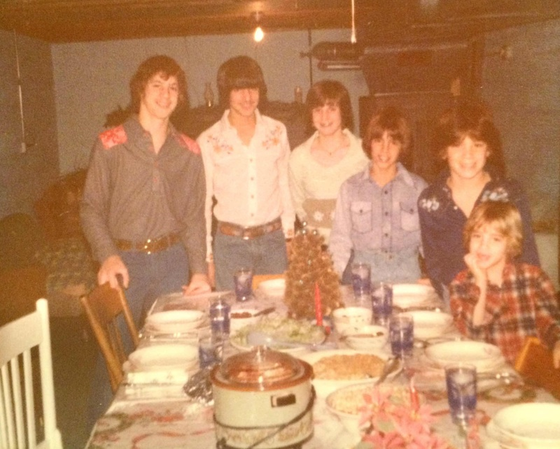 Cousins gathered around Great-Grandma's basement dining table in the 1970s.
