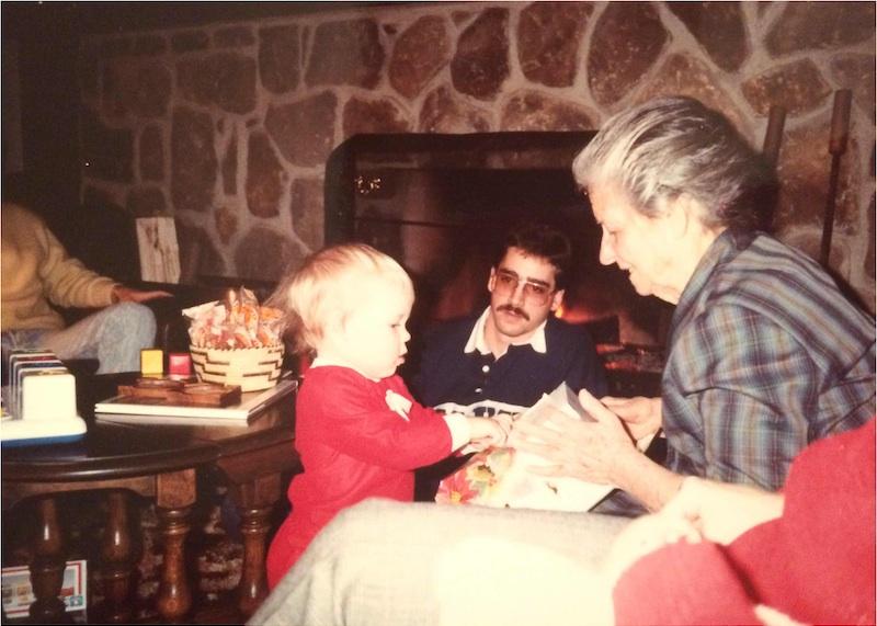 Great-Grandma Lorubbio and me on Christmas Eve circa 1989.
