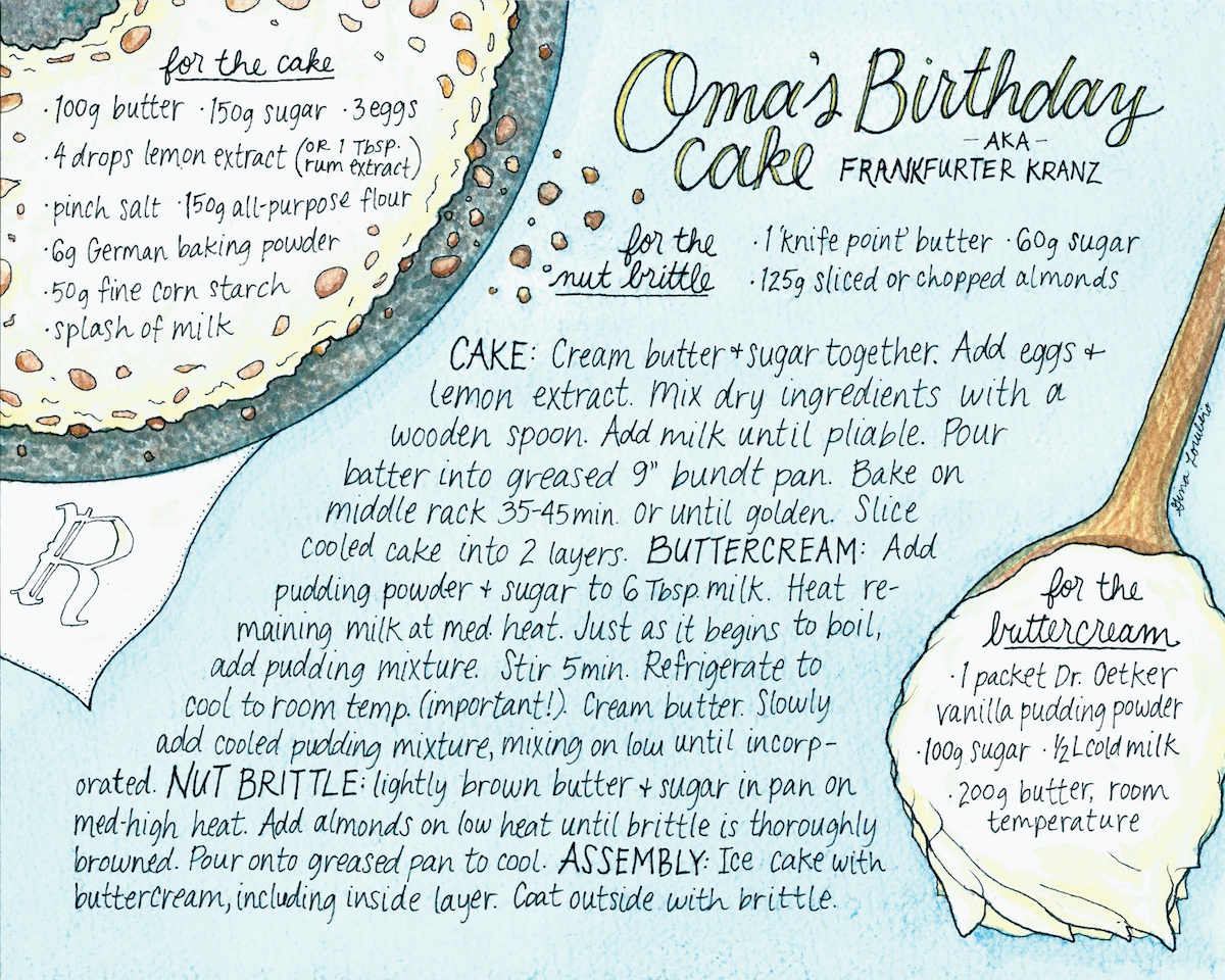 """Thank you so much for the wonderful illustration of my Oma's recipe. It is beautiful and means so much for me to have this to display."" - – Elke"
