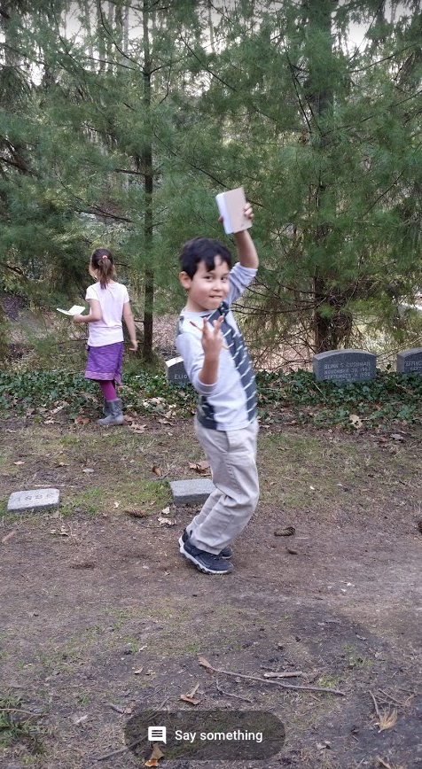 Student during free exploration at COnsecration Dell.