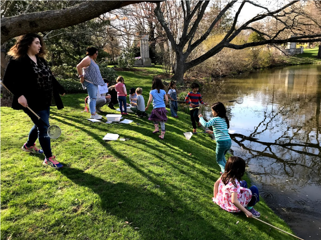Students and teachers embark on a Pond Study at Halcyon Lake.