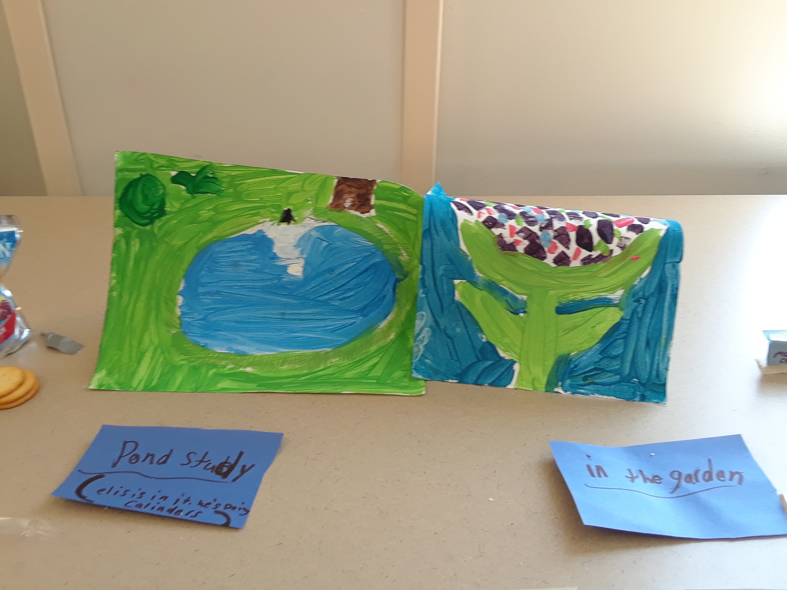 Paintings of Consecration Dell and spring flower.