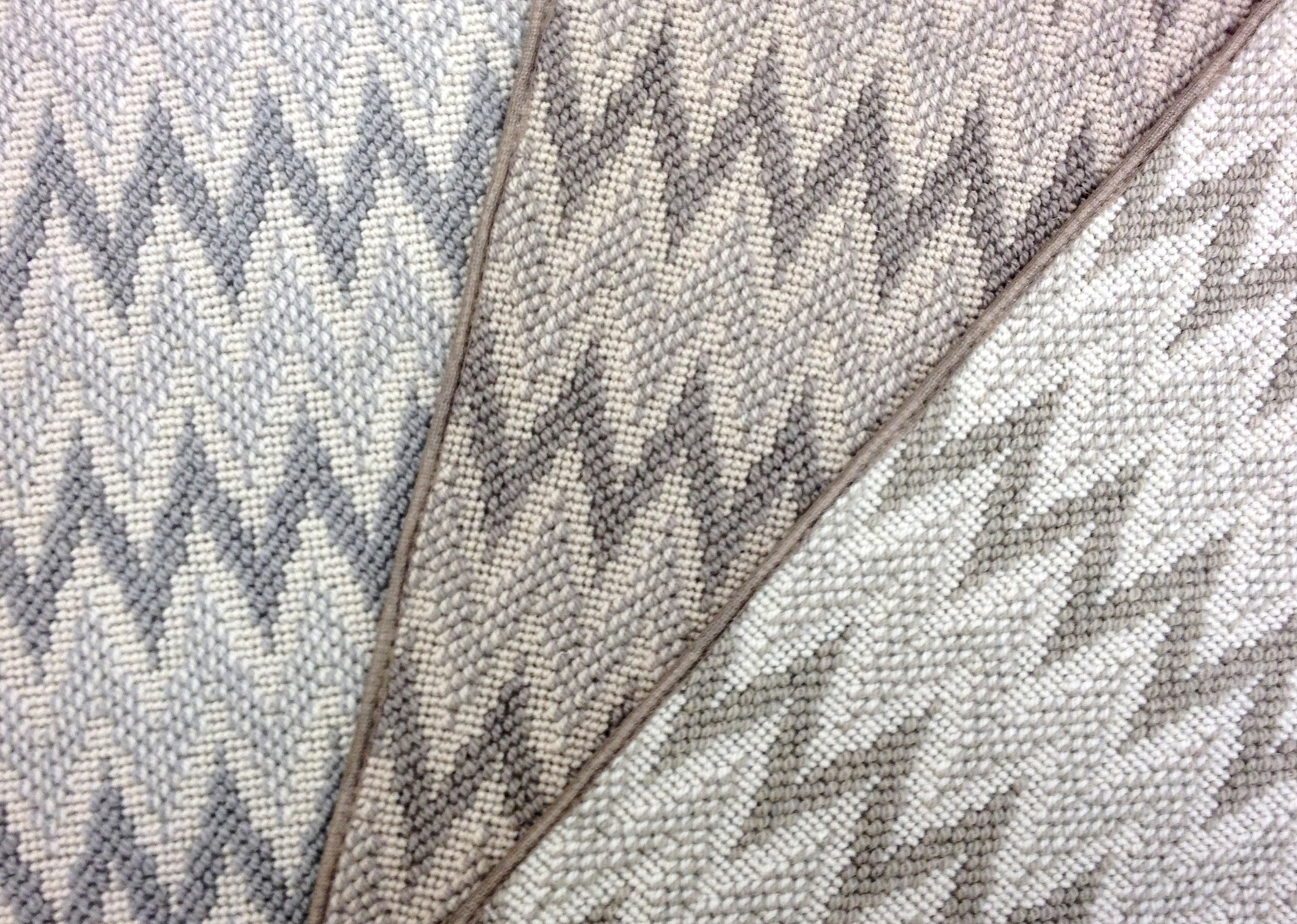 Wool chevron patterned carpet samples in neutrals