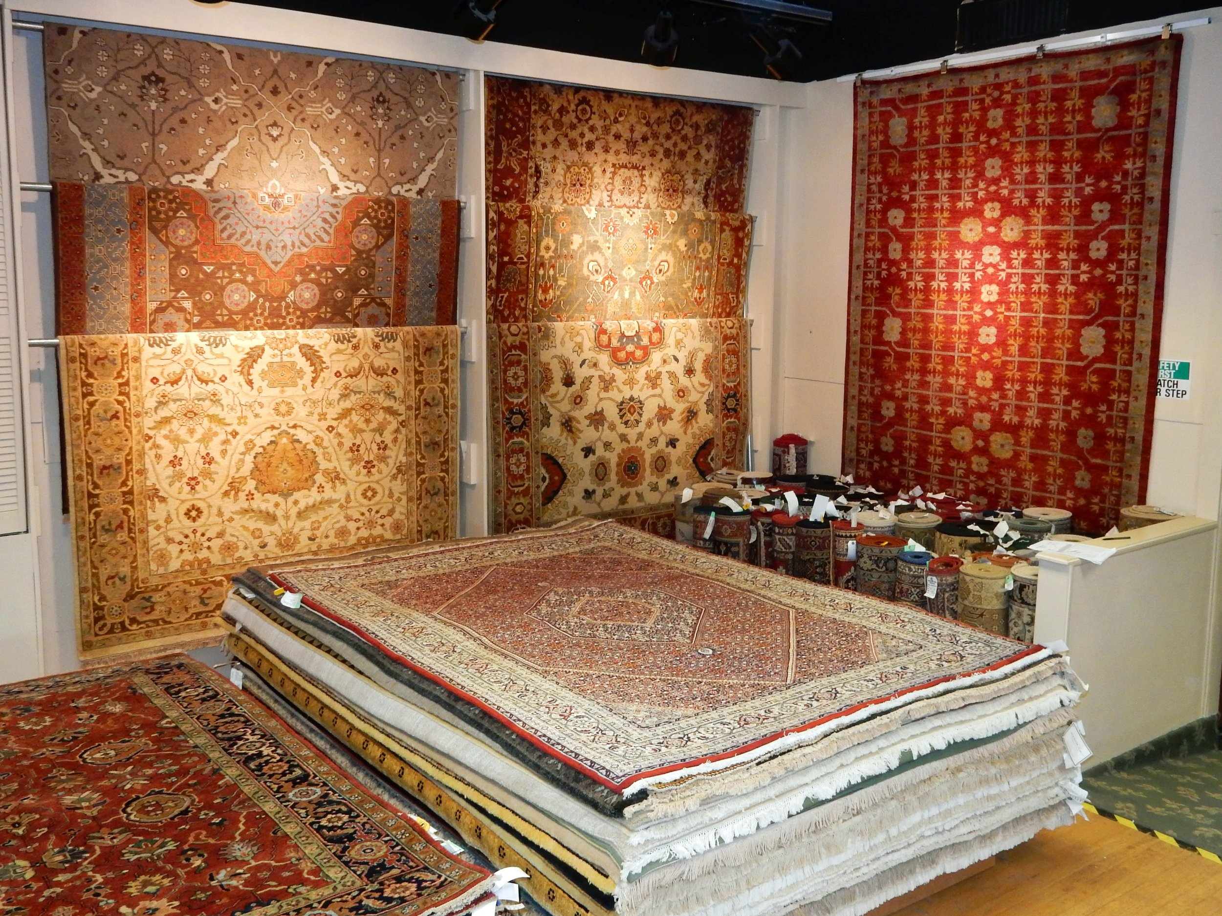 Colorful oriental rugs in our retail showroom in Wilmington, Delaware