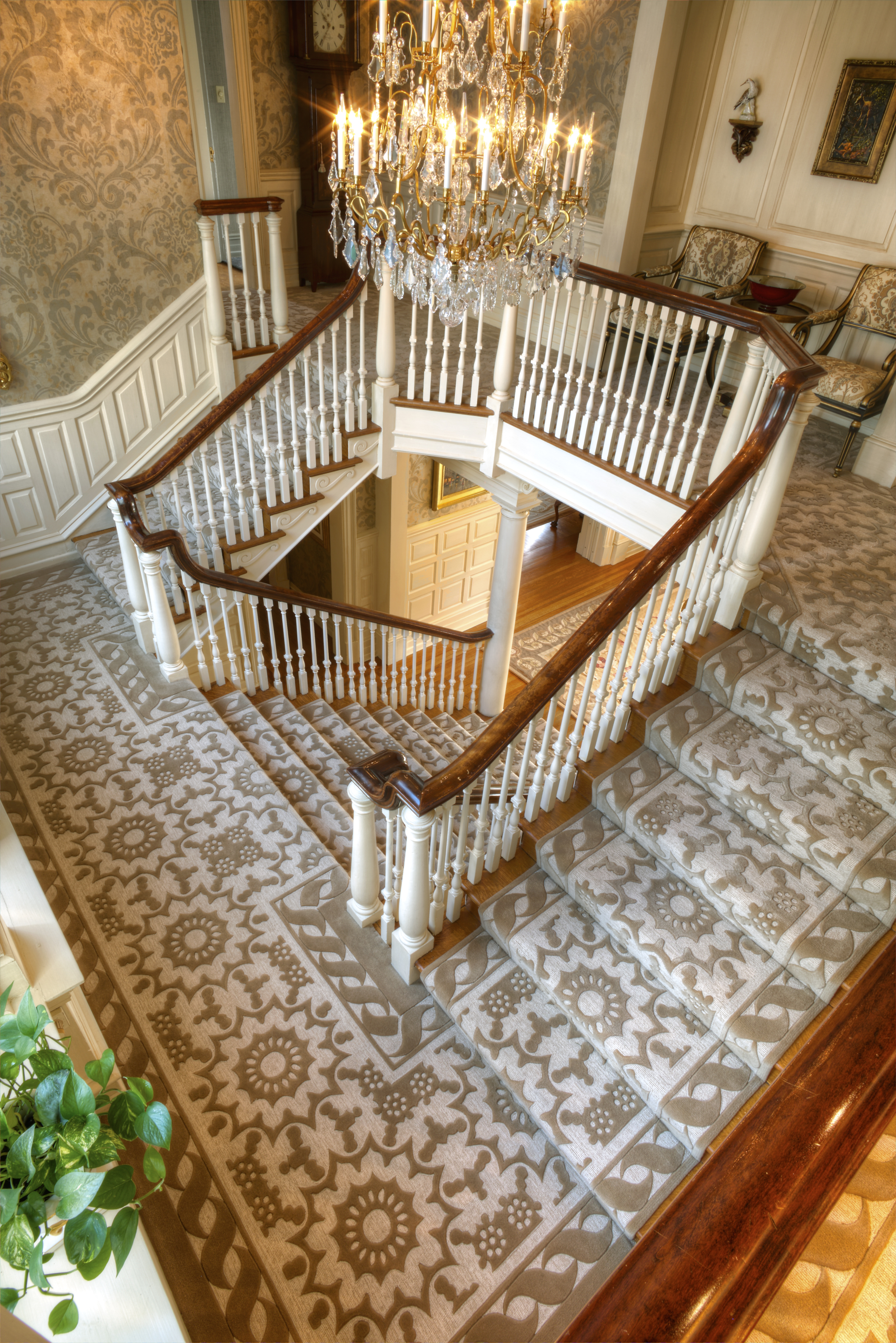 This is one of our recent Lang Carpet custom design and custom installation wool carpet jobs in ivory and gold