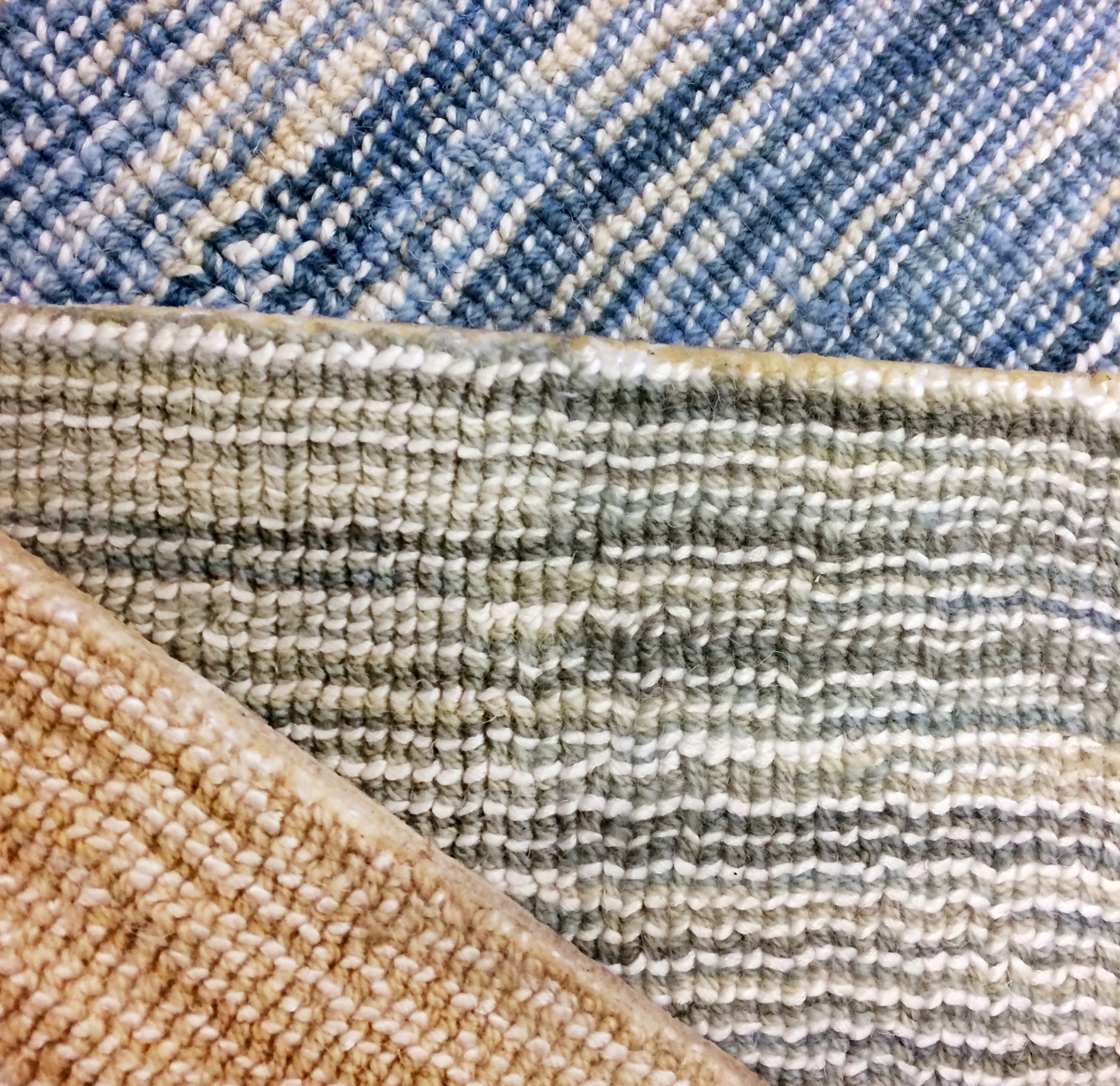 Colorful stria carpet samples with shine accents