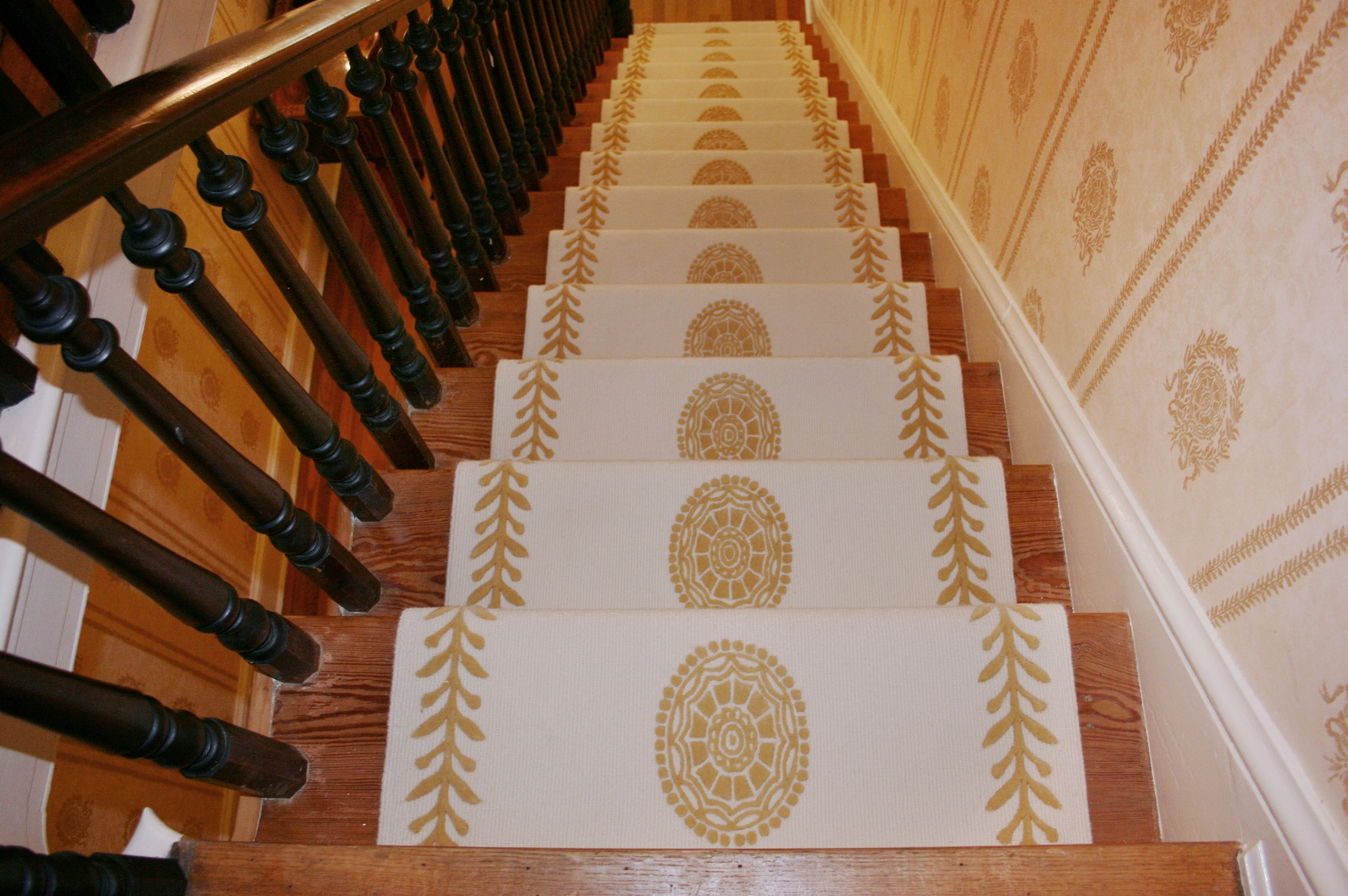 Intricate custom designed wool stair runner