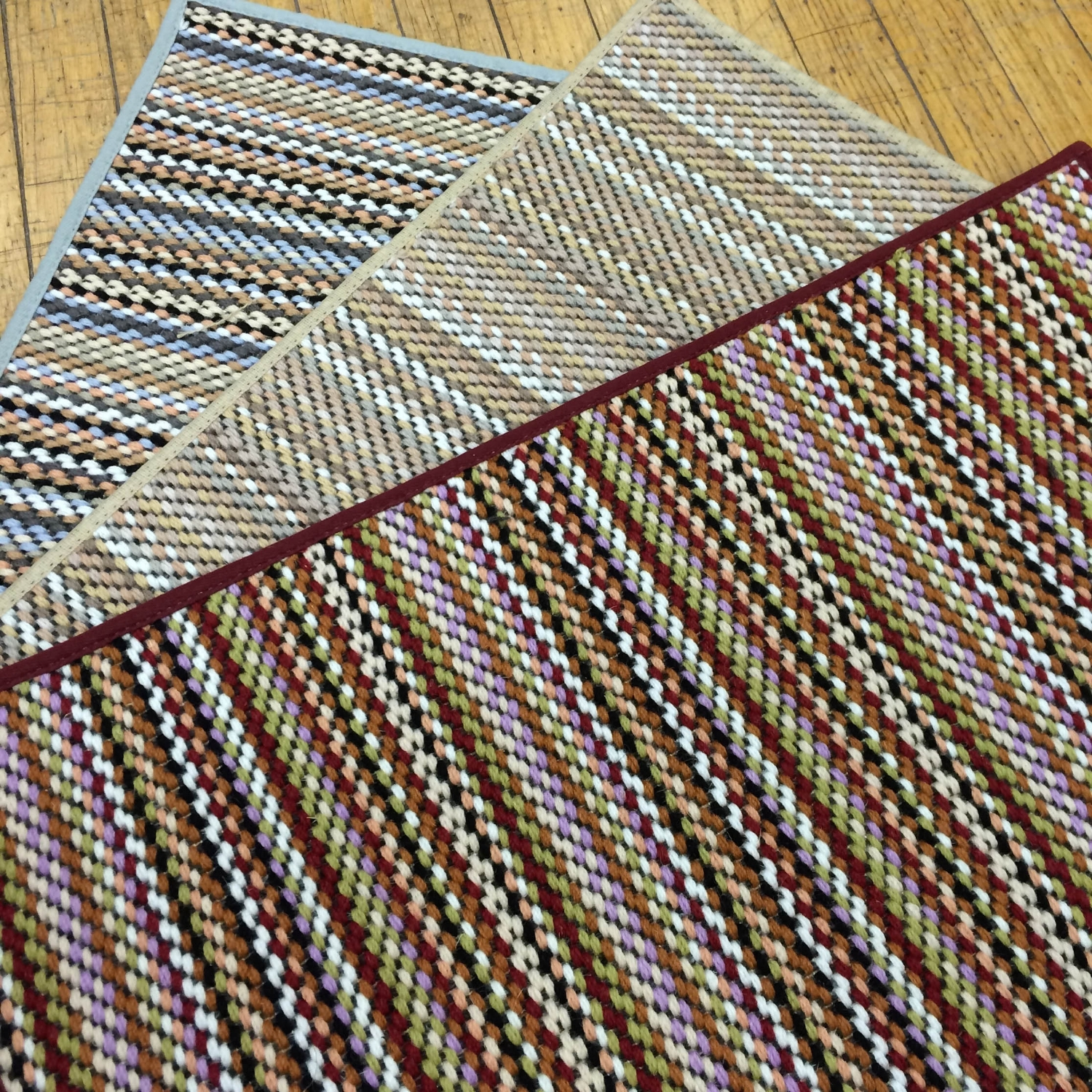 Colorful striped, wool flat weave carpet samples
