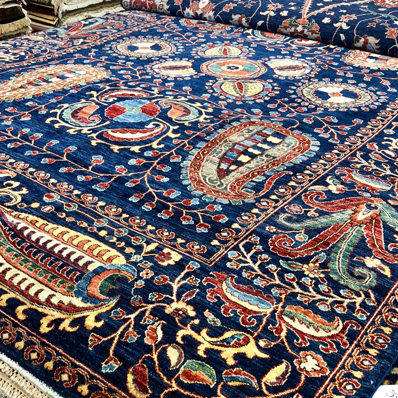 Blue transitional style oriental rug
