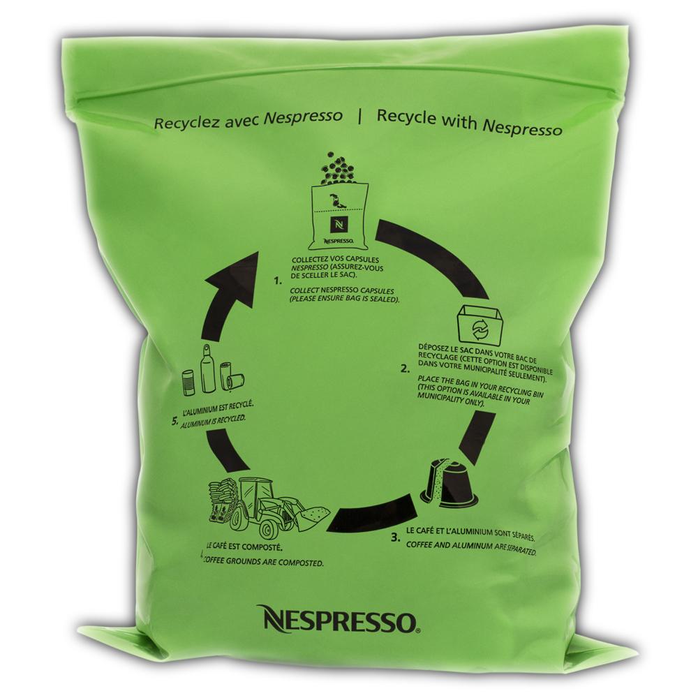 Voici le sac utilisé par Nespresso qui sera reconnu par le centre de récupération et de tri des matières recyclables du Groupe TIRU.