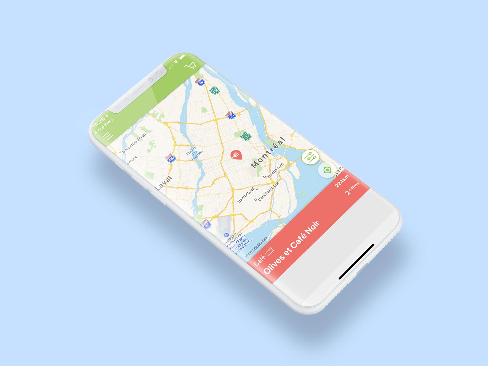 Aperçu de l'application Eatizz sur l'iPhone