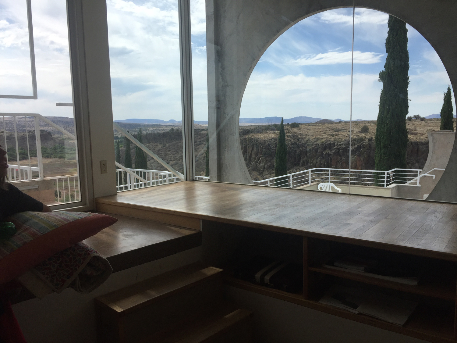 The Sky Suite at Arcosanti with an amazing view looking out over Mayer, Arizona.