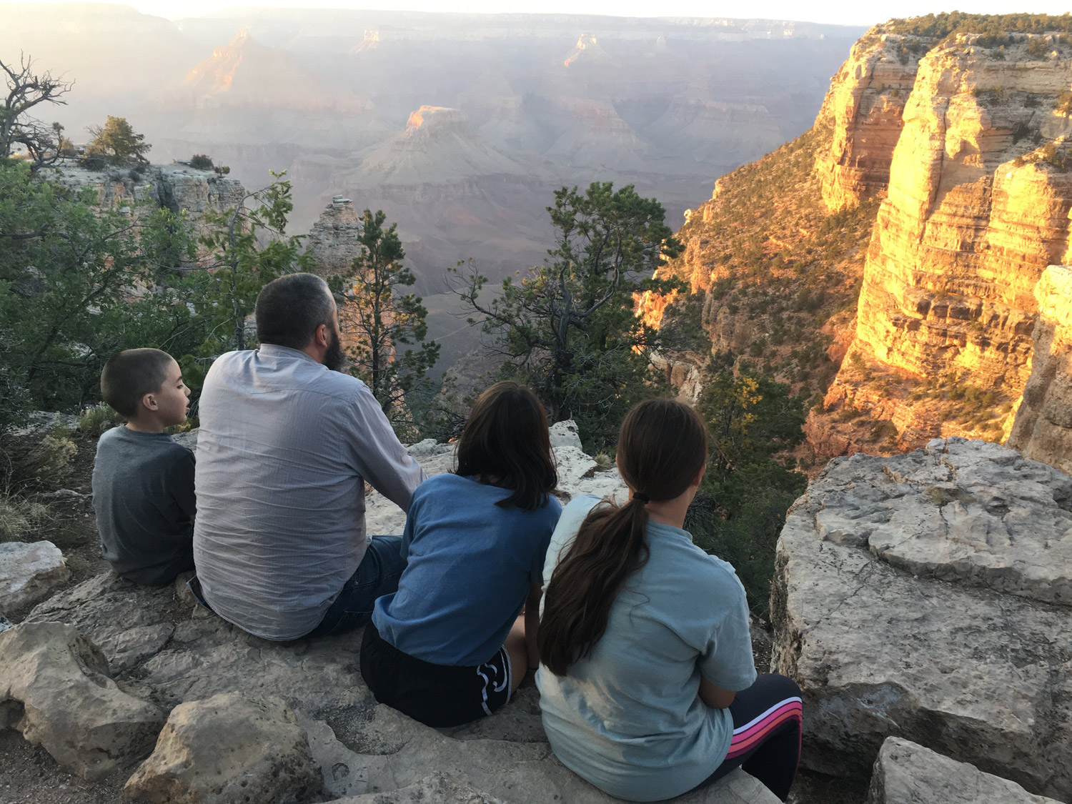 Catching the sun set on the Grand Canyon Rim Trail.