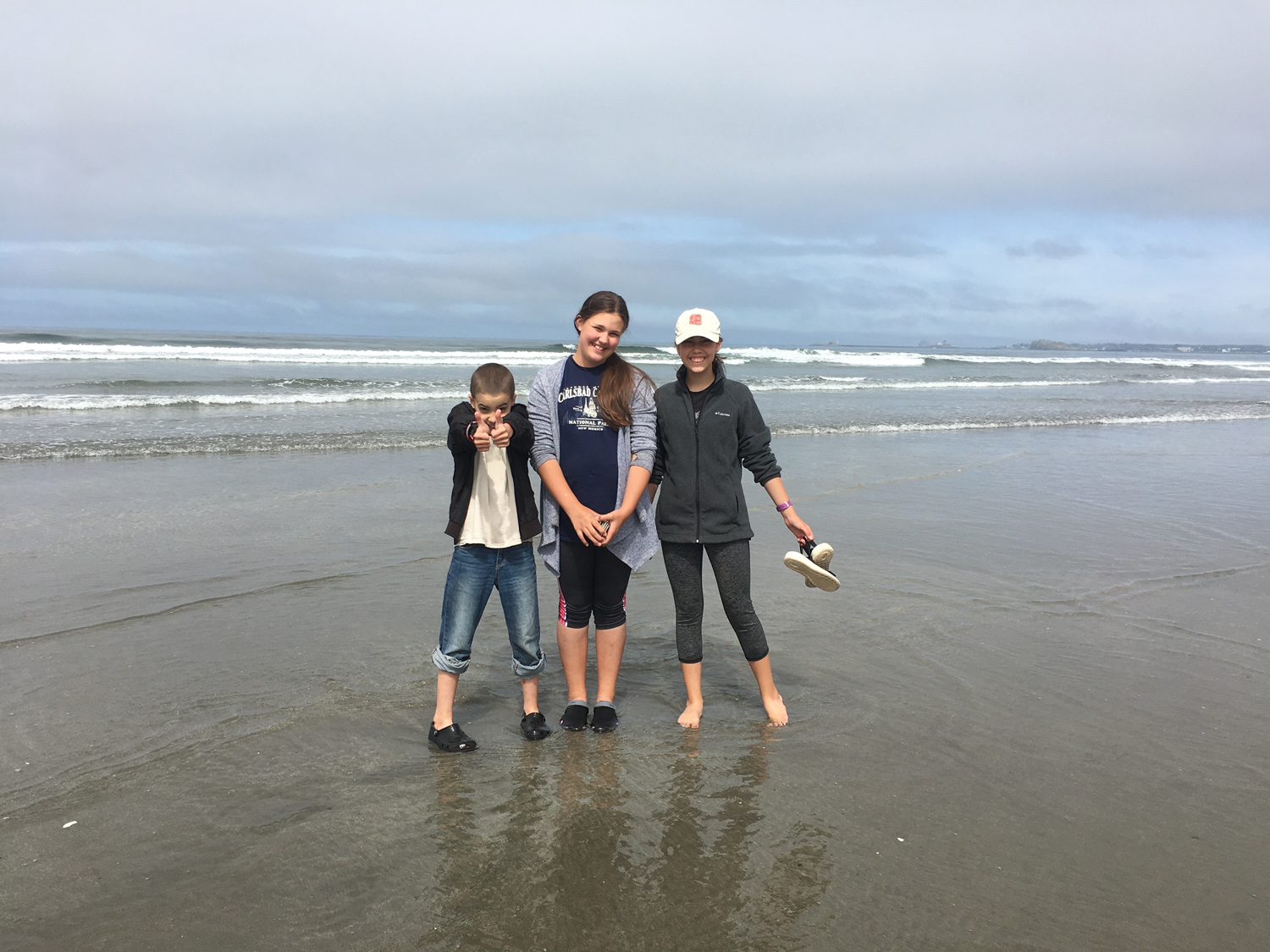 The water was cold, but fun was had by all at Enderts Beach in California.