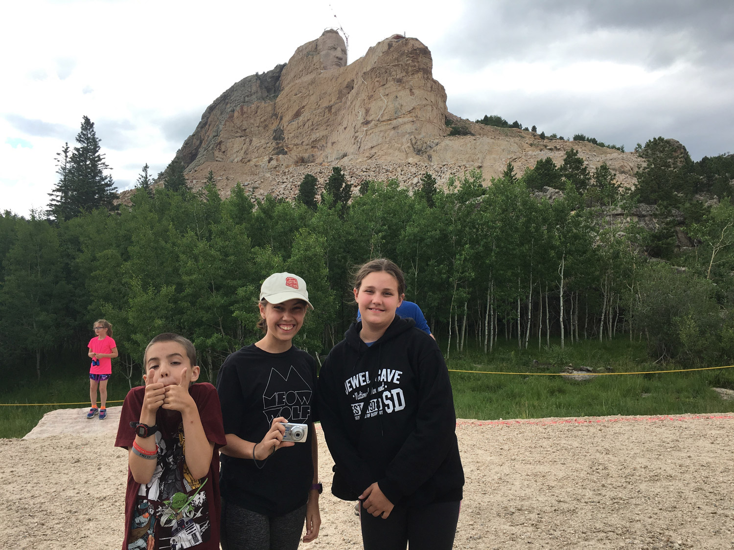To get this close to Crazy Horse, you have to pay for a shuttle ride to the base. Our bus driver made it totally worth the money.