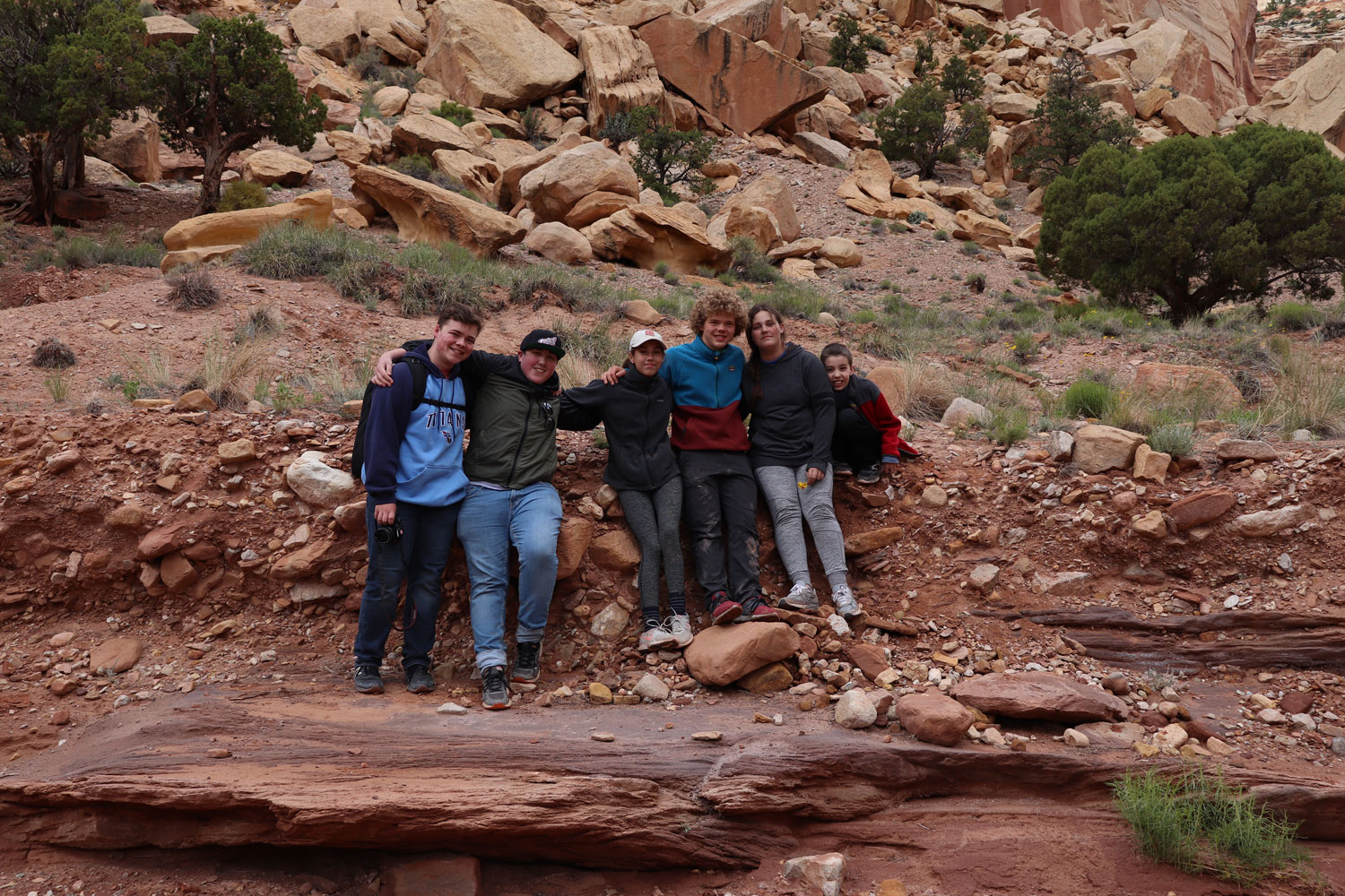 The whole crew on the Capitol Gorge Road.