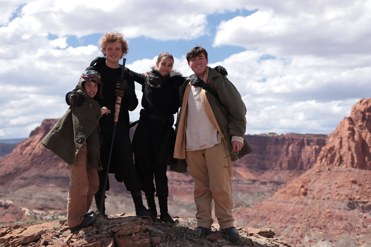 Group shot of the actors on the last day of filming. The top of the Chimney Rock provided a beautiful backdrop.