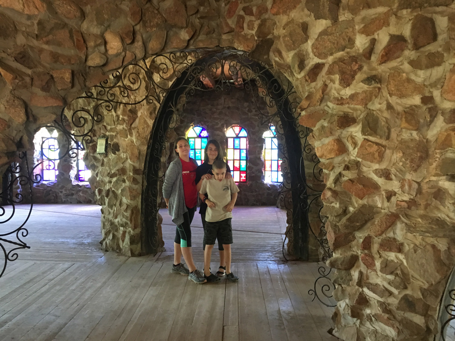 Inside the amazing Bishop Castle! The stone and iron work is impressive. And no, Ridley did not want to be in the picture :)